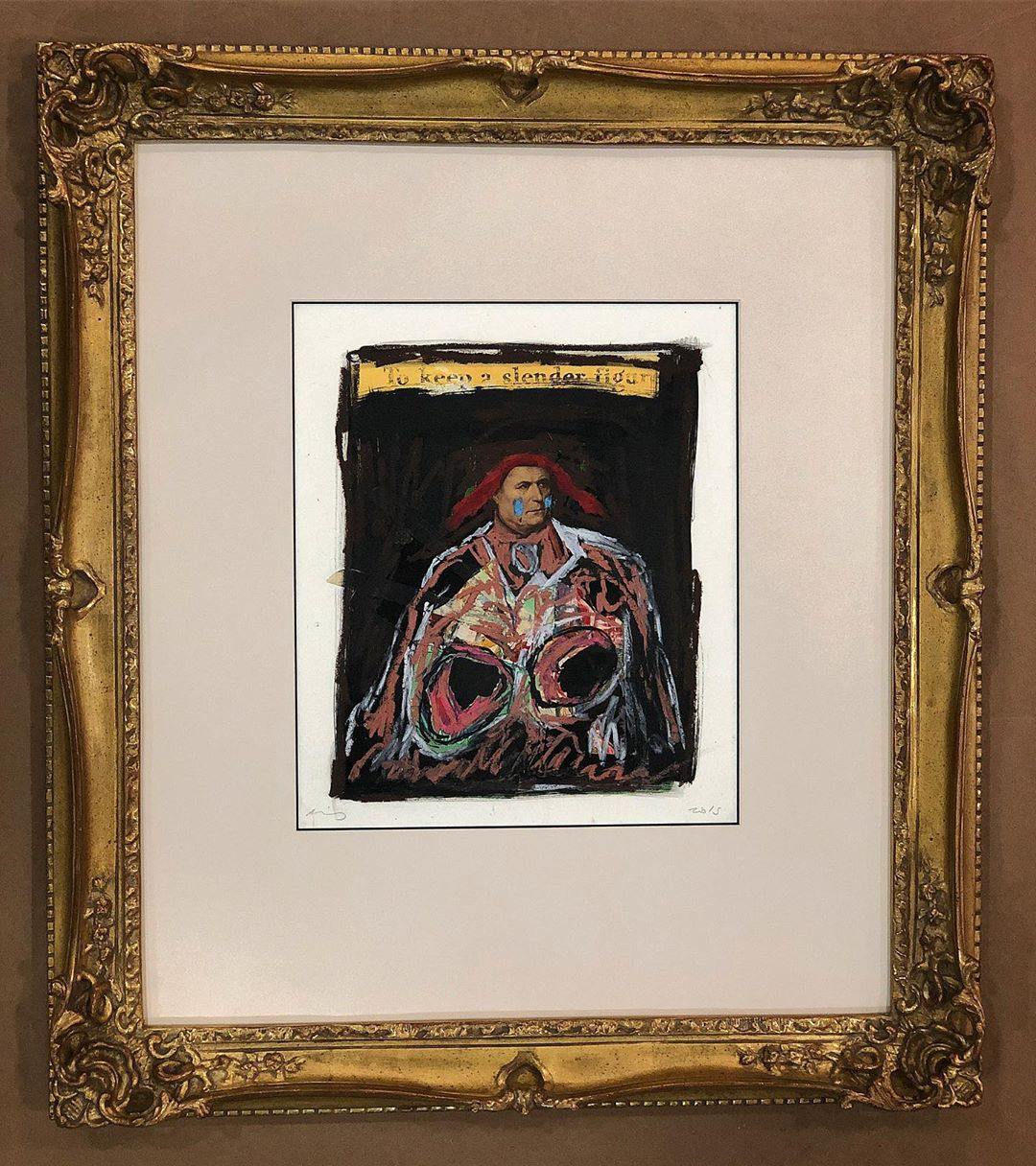 "Custom frame ""To keep a slender figure"" by David King Reuben"